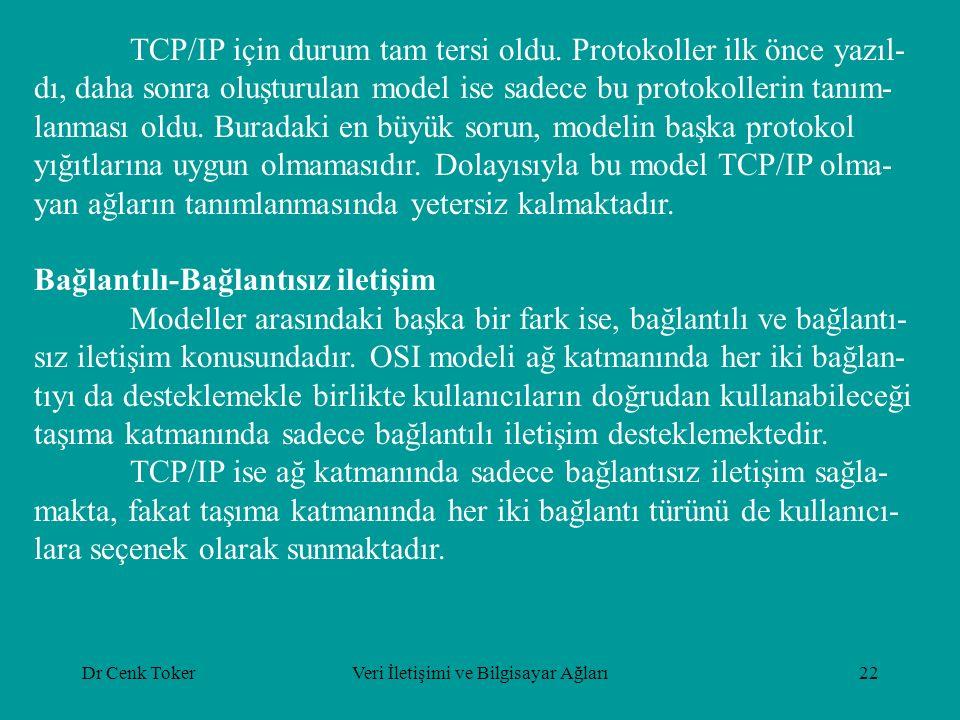Dr Cenk TokerVeri İletişimi ve Bilgisayar Ağları22 TCP/IP için durum tam tersi oldu. Protokoller ilk önce yazıl- dı, daha sonra oluşturulan model ise