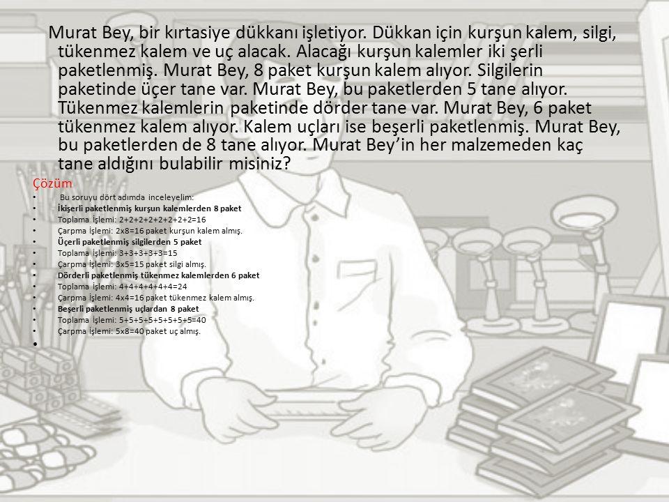 Murat Bey, bir kırtasiye dükkanı işletiyor.