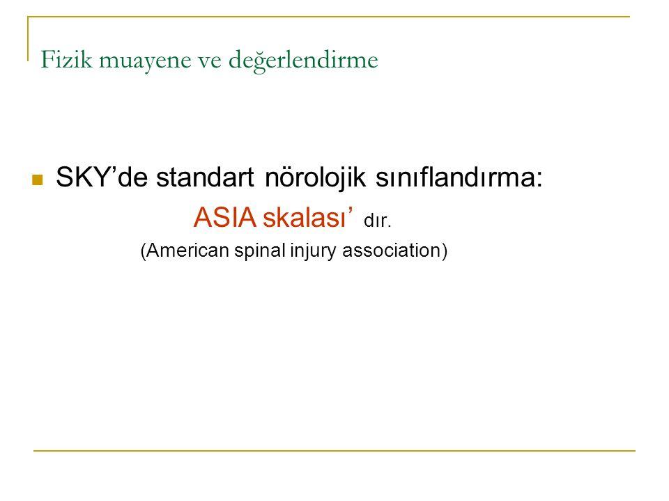 Fizik muayene ve değerlendirme SKY'de standart nörolojik sınıflandırma: ASIA skalası' dır. (American spinal injury association)