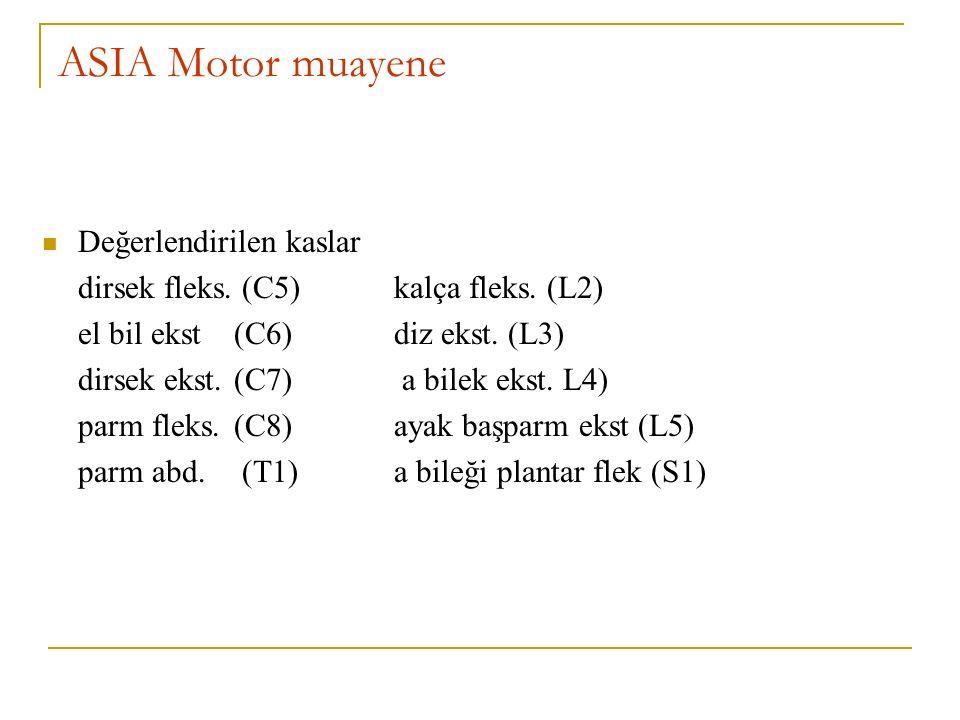 ASIA Motor muayene Değerlendirilen kaslar dirsek fleks. (C5) kalça fleks. (L2) el bil ekst (C6) diz ekst. (L3) dirsek ekst.(C7) a bilek ekst. L4) parm