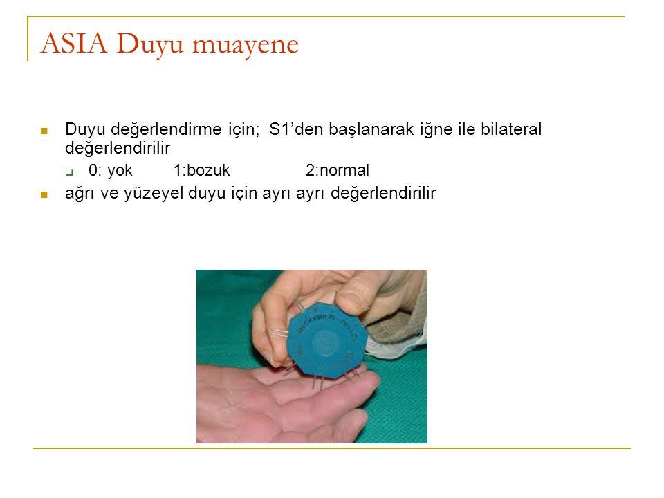 ASIA Duyu muayene Duyu değerlendirme için; S1'den başlanarak iğne ile bilateral değerlendirilir  0: yok 1:bozuk2:normal ağrı ve yüzeyel duyu için ayr