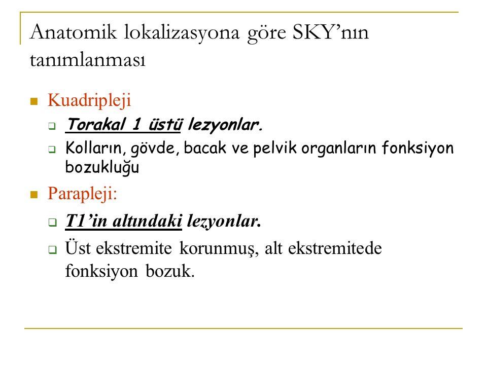 Anatomik lokalizasyona göre SKY'nın tanımlanması Kuadripleji  Torakal 1 üstü lezyonlar.  Kolların, gövde, bacak ve pelvik organların fonksiyon bozuk