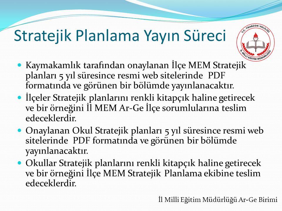 Stratejik Planlama Yayın Süreci Kaymakamlık tarafından onaylanan İlçe MEM Stratejik planları 5 yıl süresince resmi web sitelerinde PDF formatında ve görünen bir bölümde yayınlanacaktır.