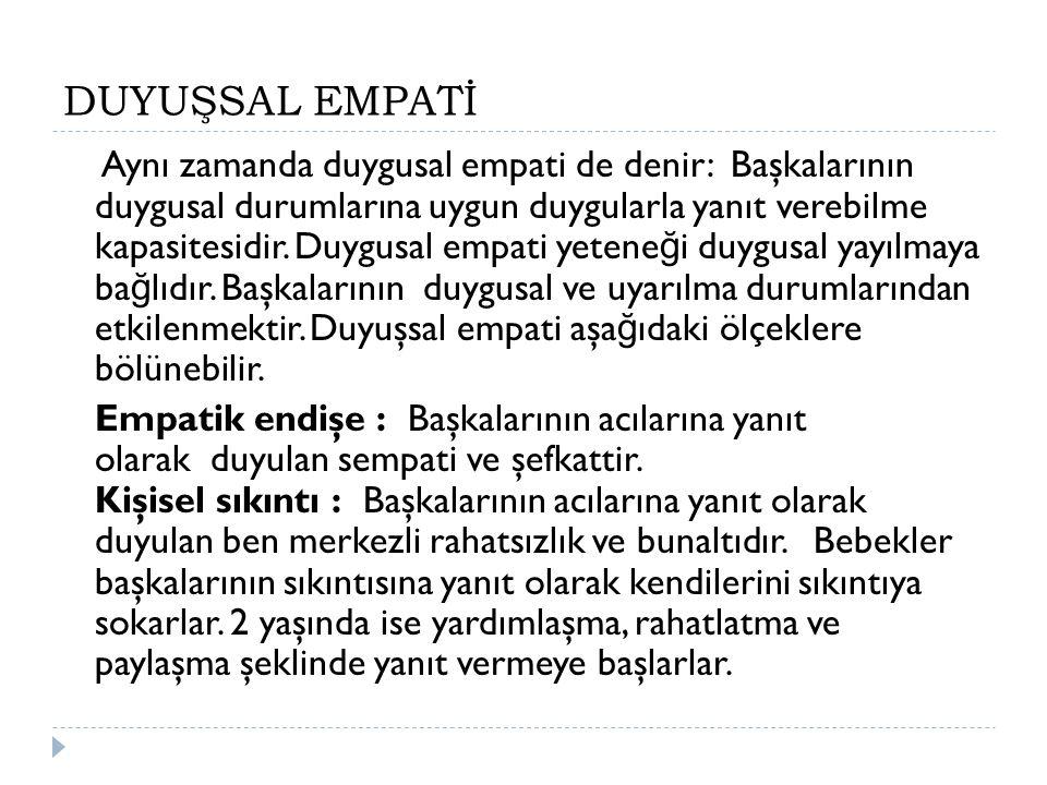 DUYUŞSAL EMPATİ Aynı zamanda duygusal empati de denir: Başkalarının duygusal durumlarına uygun duygularla yanıt verebilme kapasitesidir. Duygusal empa