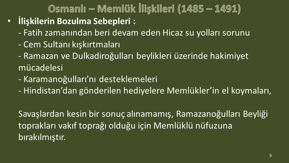 İlişkilerin Bozulma Sebepleri : - Fatih zamanından beri devam eden Hicaz su yolları sorunu - Cem Sultanı kışkırtmaları - Ramazan ve Dulkadiroğulları b