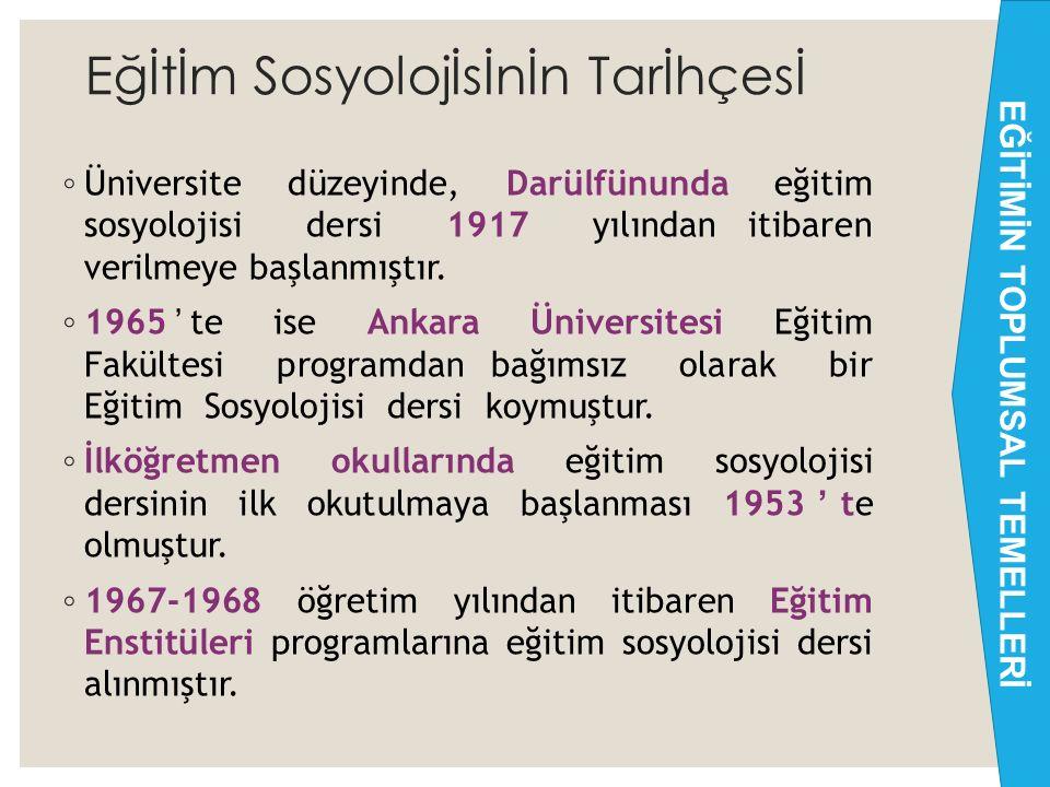 Eğİtİm Sosyolojİsİnİn Tarİhçesİ ◦ Ülkemizde eğitim sosyolojisinin tarihi 1915'li yıllara dayanır. ◦ Eğitim sosyolojisinin doğmasına katkı sağlayanlar;