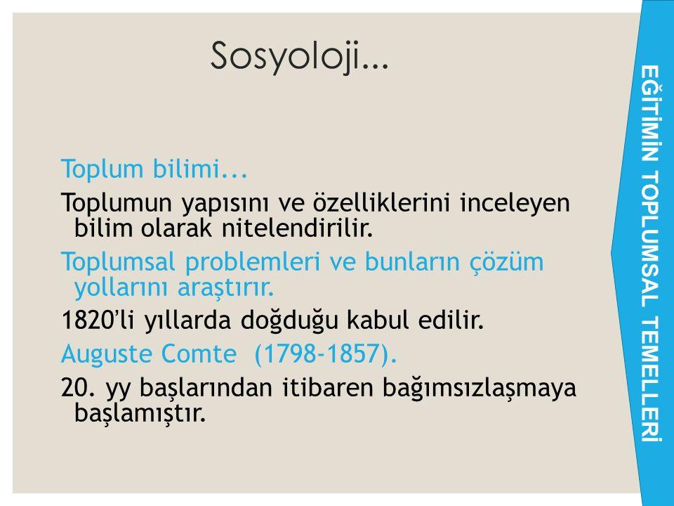 Sosyoloji...Toplum bilimi...