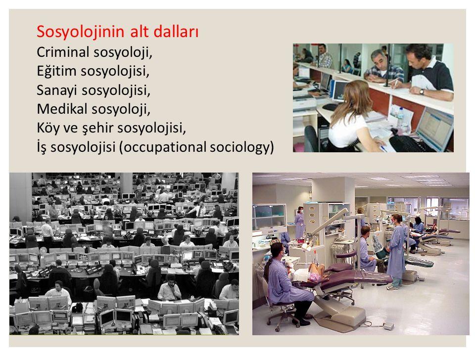 Sosyolojinin AlanIarı ◦ Sosyoloji toplum bilimi olduğuna göre toplum içinde yer alan her kurum, her çeşit toplumsal ilişki ve toplumsal olaylar sosyol