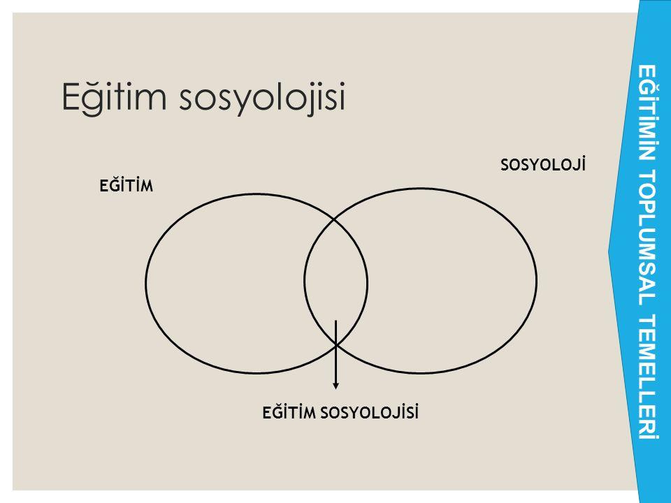 Eğitim sosyolojisi 9 EĞİTİM SOSYOLOJİ EĞİTİM SOSYOLOJİSİ EĞİTİMİN TOPLUMSAL TEMELLERİ