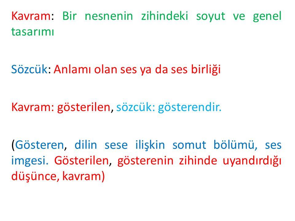 Kavram ve sözcük farkını Sausssure'ün kuramına göre açıklamak mümkündür: KAVRAM (Gösterilen) SÖZCÜK (Gösteren) NESNE (Gönderge)