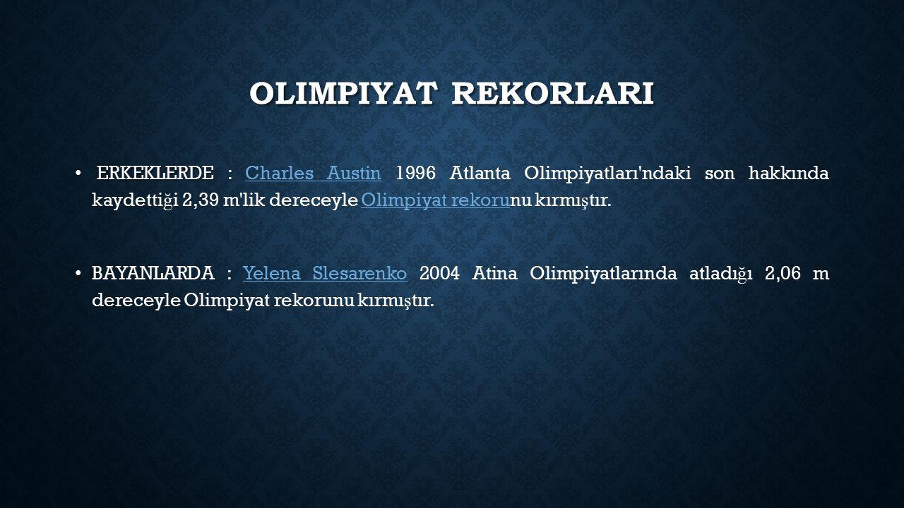 OLIMPIYAT REKORLARI ERKEKLERDE : ERKEKLERDE : Charles Austin 1996 Atlanta Olimpiyatları'ndaki son hakkında kaydetti ğ i 2,39 m'lik dereceyle Olimpiyat