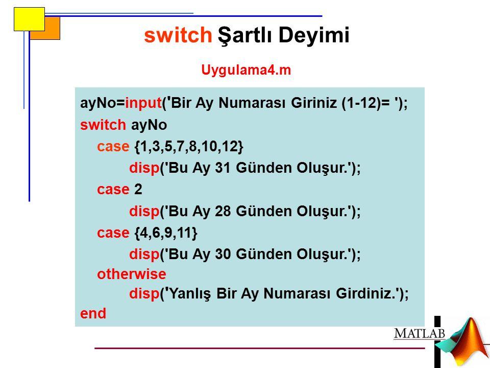 ayNo=input( Bir Ay Numarası Giriniz (1-12)= ); switch ayNo case {1,3,5,7,8,10,12} disp( Bu Ay 31 Günden Oluşur. ); case 2 disp( Bu Ay 28 Günden Oluşur. ); case {4,6,9,11} disp( Bu Ay 30 Günden Oluşur. ); otherwise disp( Yanlış Bir Ay Numarası Girdiniz. ); end switch Şartlı Deyimi Uygulama4.m