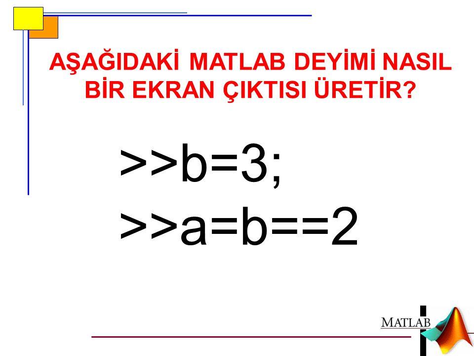>>b=3; >>a=b==2 AŞAĞIDAKİ MATLAB DEYİMİ NASIL BİR EKRAN ÇIKTISI ÜRETİR?