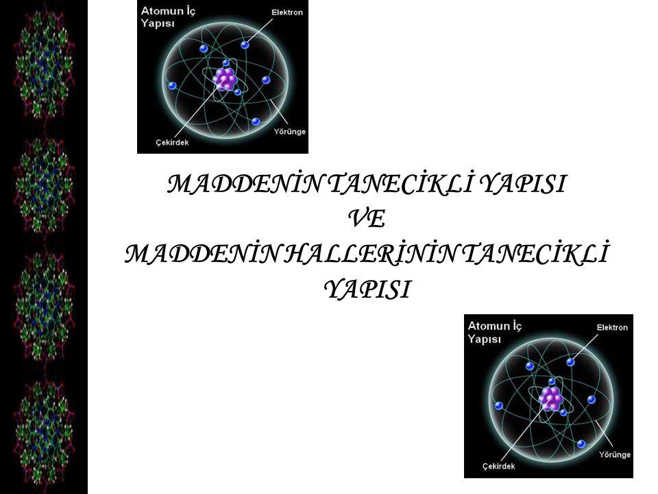 Maddelerin, gözle görülemeyecek kadar küçük olan yapı taşlarına atom denir.