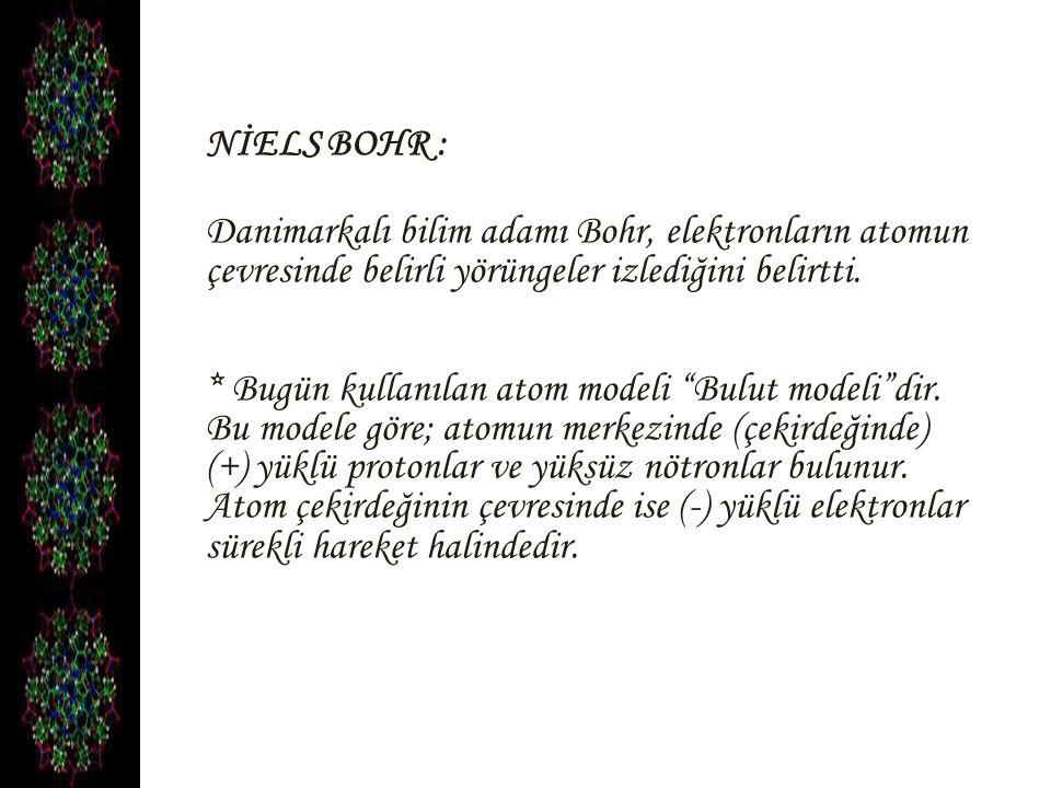 """NİELS BOHR : Danimarkalı bilim adamı Bohr, elektronların atomun çevresinde belirli yörüngeler izlediğini belirtti. * Bugün kullanılan atom modeli """"Bul"""