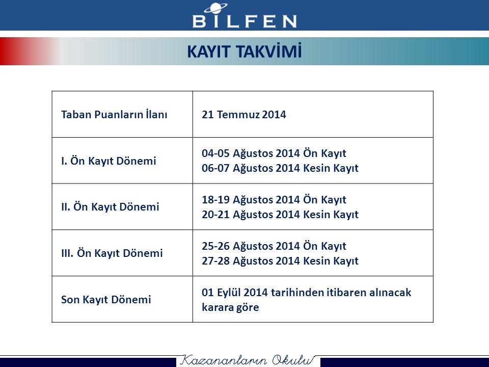 KAYIT TAKVİMİ Taban Puanların İlanı21 Temmuz 2014 I.