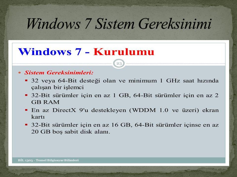 CPU 1 GH veya daha hızlı RAM 1 GB 32-bit için veya 2 GB 64-bit için GPU Aero özelliğine sahip Video RAM 128 MB HDD 16 GB 32-bit için veya 20 GB 64-bit