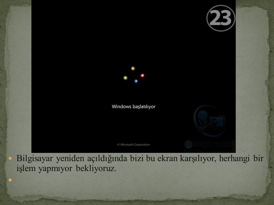 Bilgisayar yeniden açıldığında bizi bu ekran karşılıyor, herhangi bir işlem yapmıyor bekliyoruz.