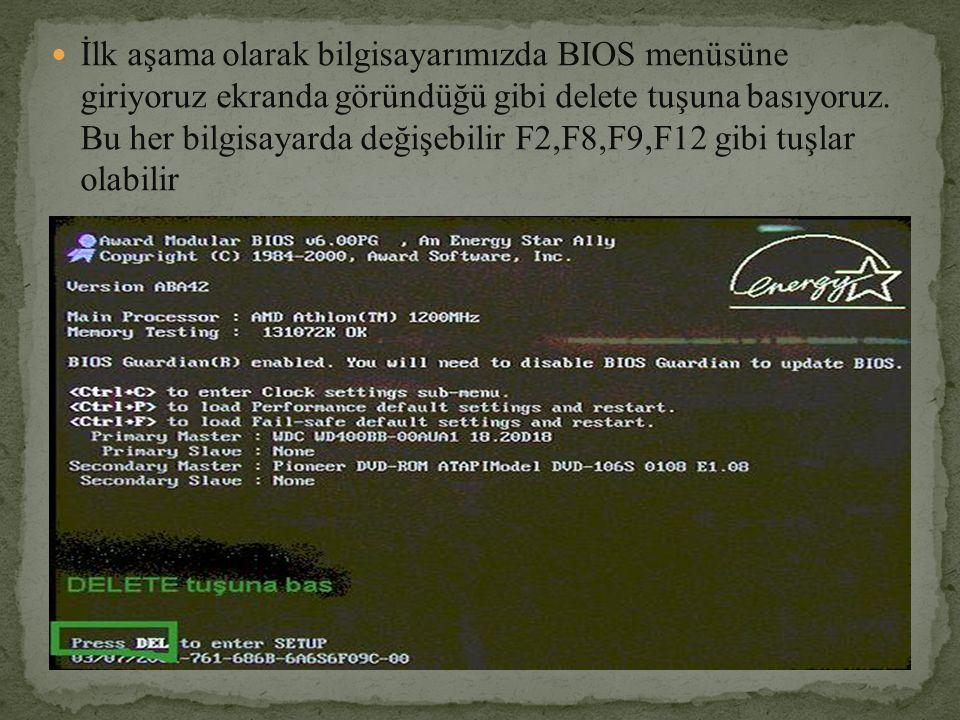 İlk aşama olarak bilgisayarımızda BIOS menüsüne giriyoruz ekranda göründüğü gibi delete tuşuna basıyoruz. Bu her bilgisayarda değişebilir F2,F8,F9,F12