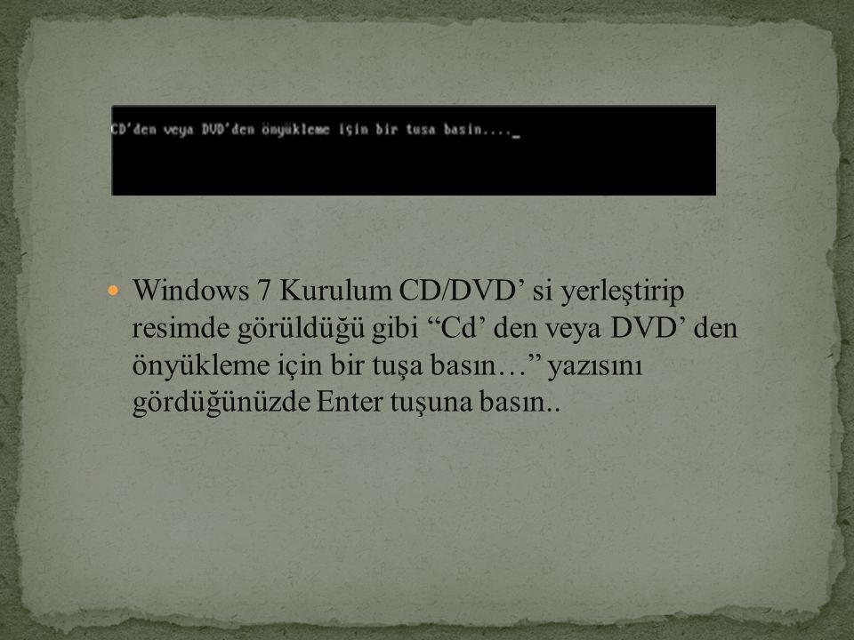 """Windows 7 Kurulum CD/DVD' si yerleştirip resimde görüldüğü gibi """"Cd' den veya DVD' den önyükleme için bir tuşa basın…"""" yazısını gördüğünüzde Enter tuş"""