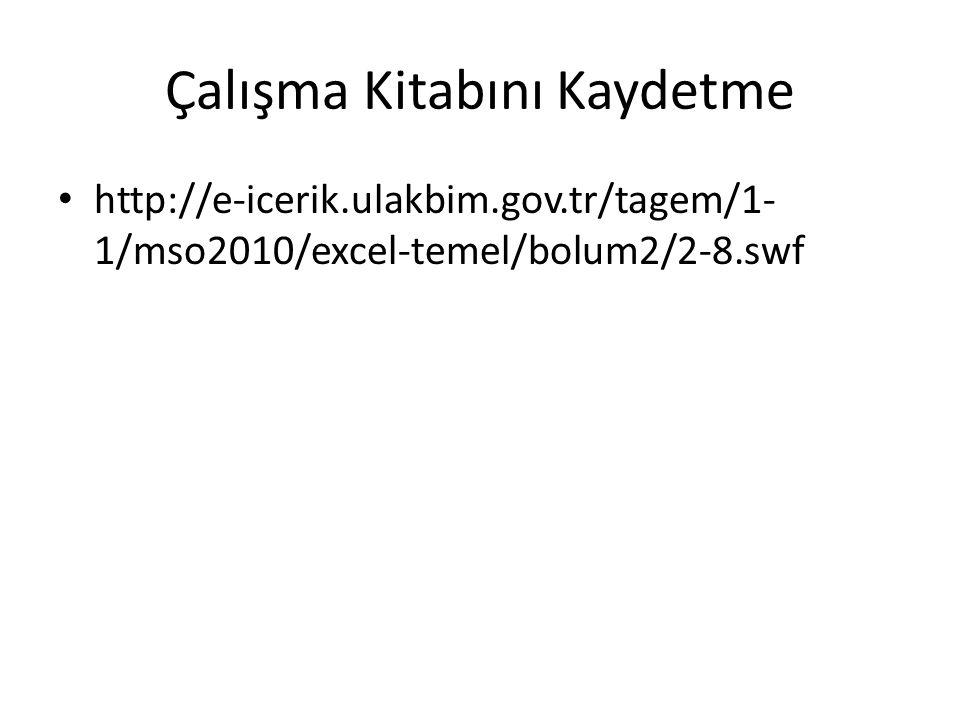 Çalışma Kitabını Kaydetme http://e-icerik.ulakbim.gov.tr/tagem/1- 1/mso2010/excel-temel/bolum2/2-8.swf
