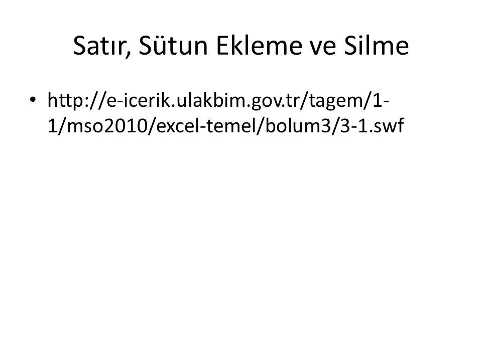 Satır, Sütun Ekleme ve Silme http://e-icerik.ulakbim.gov.tr/tagem/1- 1/mso2010/excel-temel/bolum3/3-1.swf