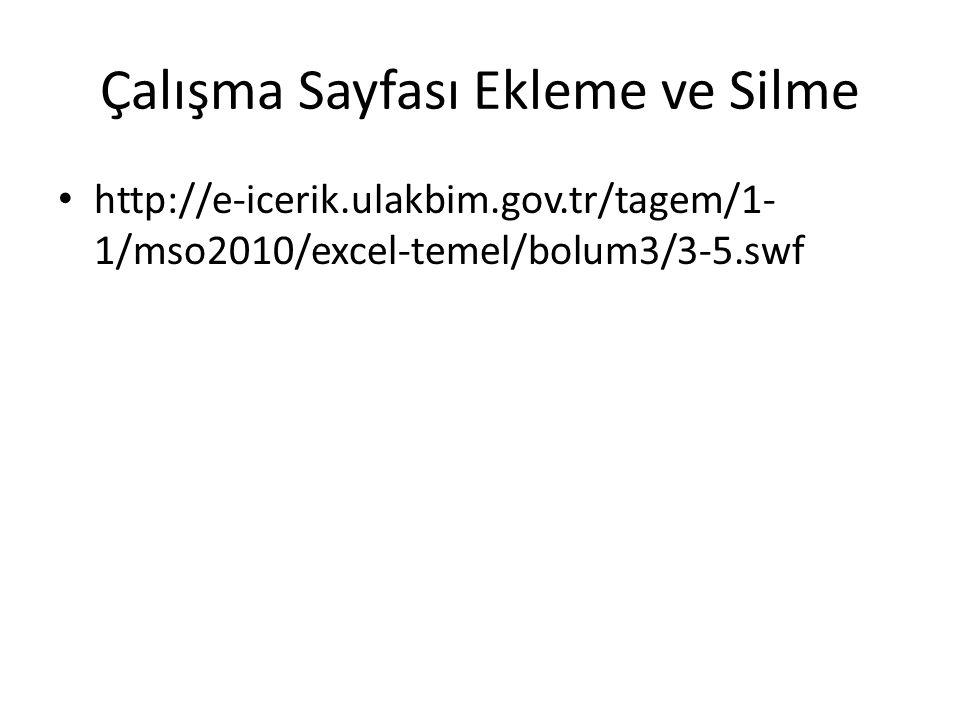 Çalışma Sayfası Ekleme ve Silme http://e-icerik.ulakbim.gov.tr/tagem/1- 1/mso2010/excel-temel/bolum3/3-5.swf