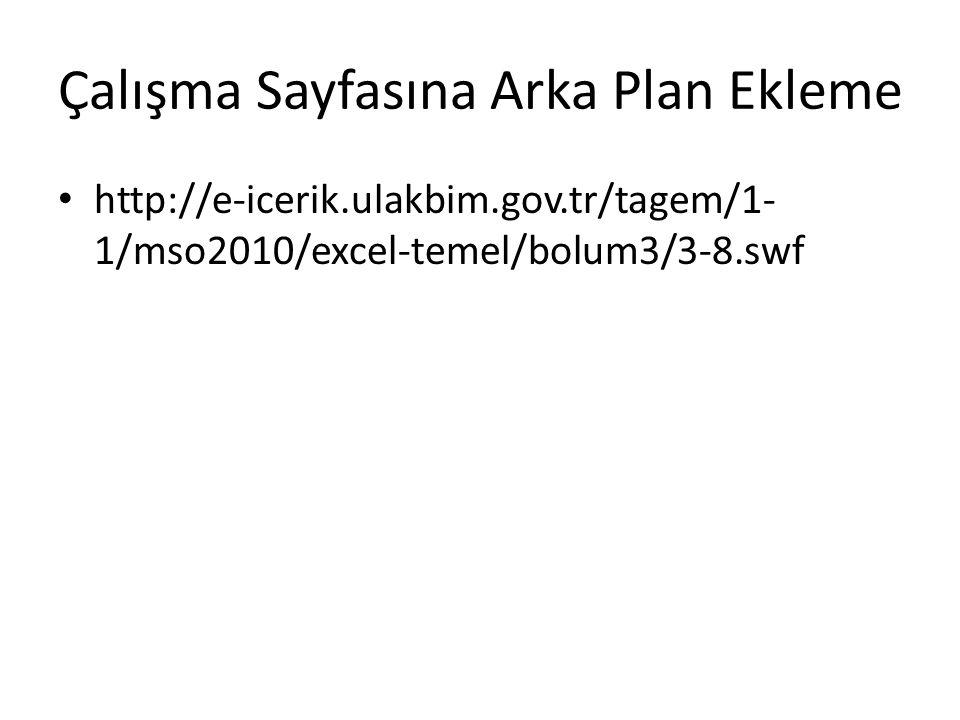 Çalışma Sayfasına Arka Plan Ekleme http://e-icerik.ulakbim.gov.tr/tagem/1- 1/mso2010/excel-temel/bolum3/3-8.swf