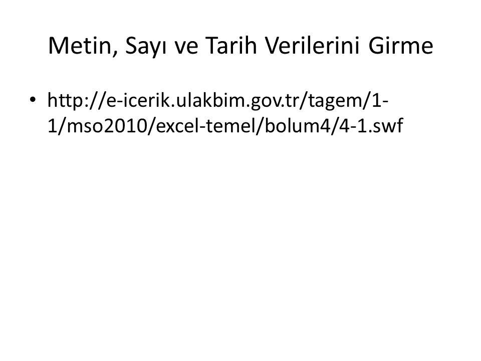 Metin, Sayı ve Tarih Verilerini Girme http://e-icerik.ulakbim.gov.tr/tagem/1- 1/mso2010/excel-temel/bolum4/4-1.swf