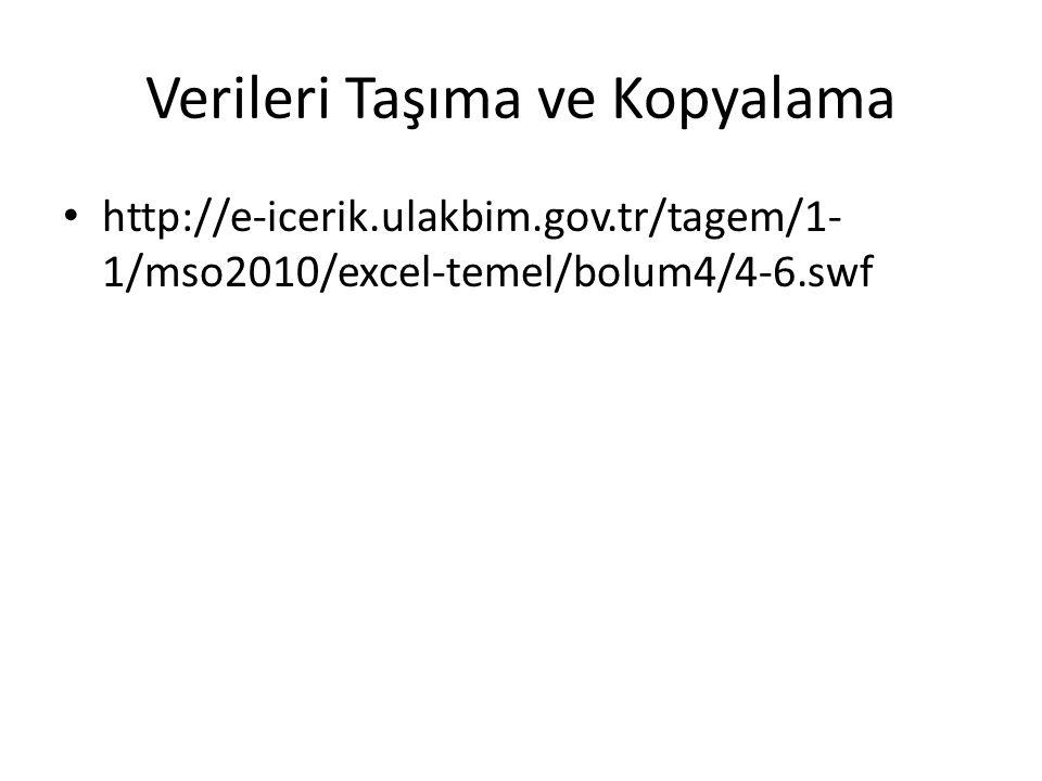 Verileri Taşıma ve Kopyalama http://e-icerik.ulakbim.gov.tr/tagem/1- 1/mso2010/excel-temel/bolum4/4-6.swf
