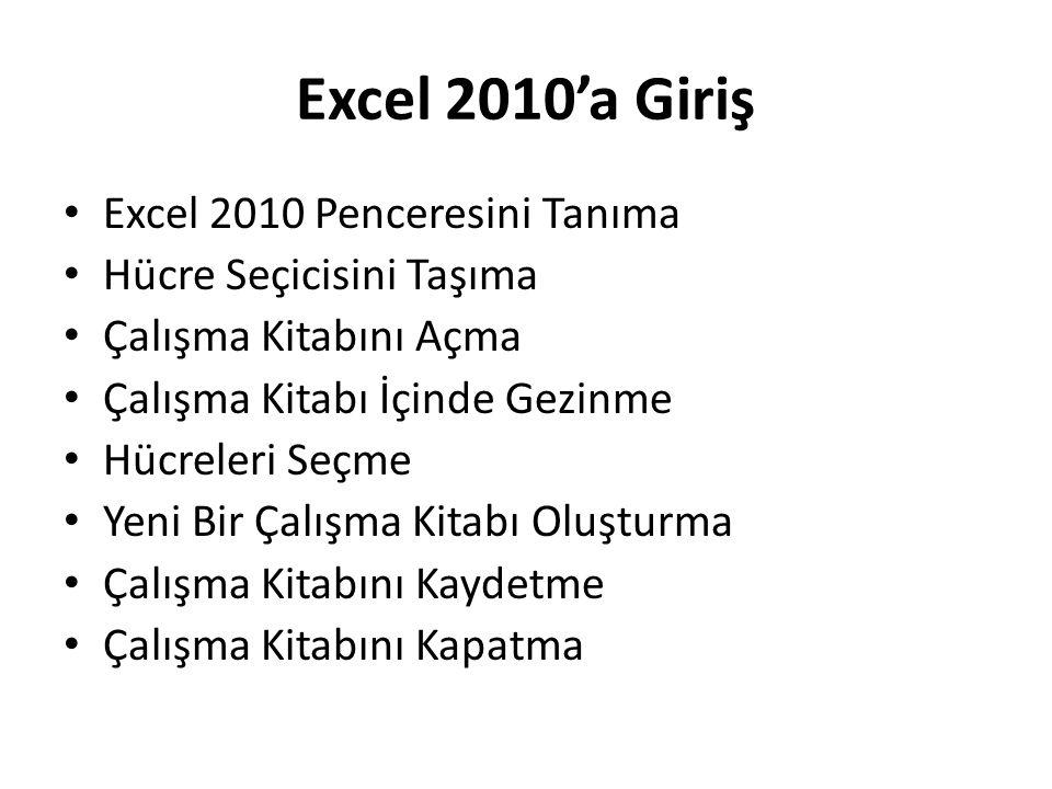 Excel 2010'a Giriş Excel 2010 Penceresini Tanıma Hücre Seçicisini Taşıma Çalışma Kitabını Açma Çalışma Kitabı İçinde Gezinme Hücreleri Seçme Yeni Bir
