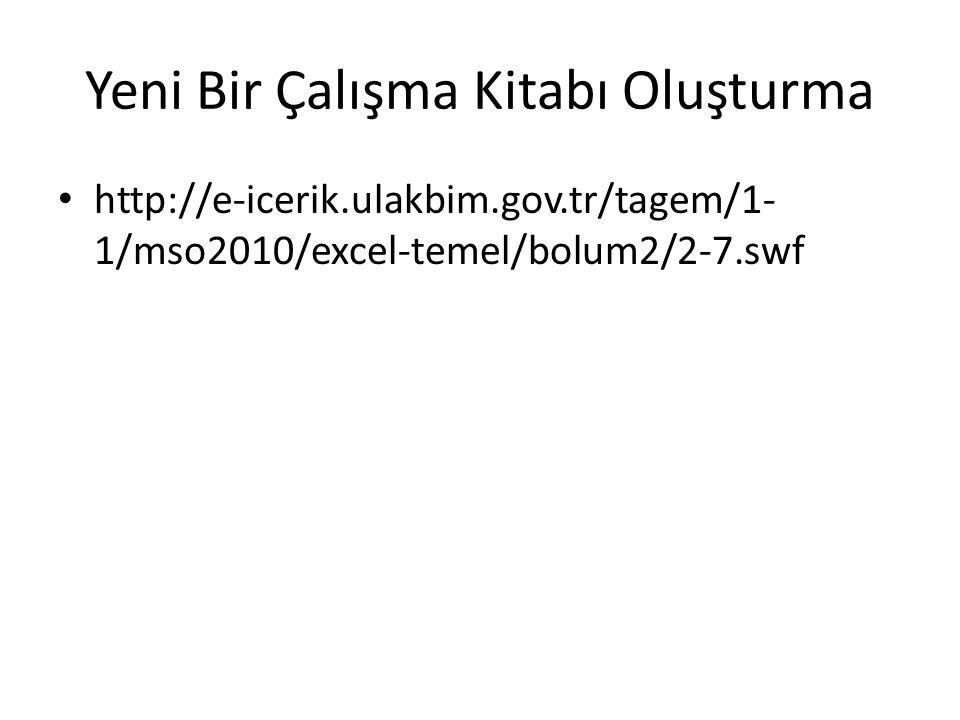 Yeni Bir Çalışma Kitabı Oluşturma http://e-icerik.ulakbim.gov.tr/tagem/1- 1/mso2010/excel-temel/bolum2/2-7.swf