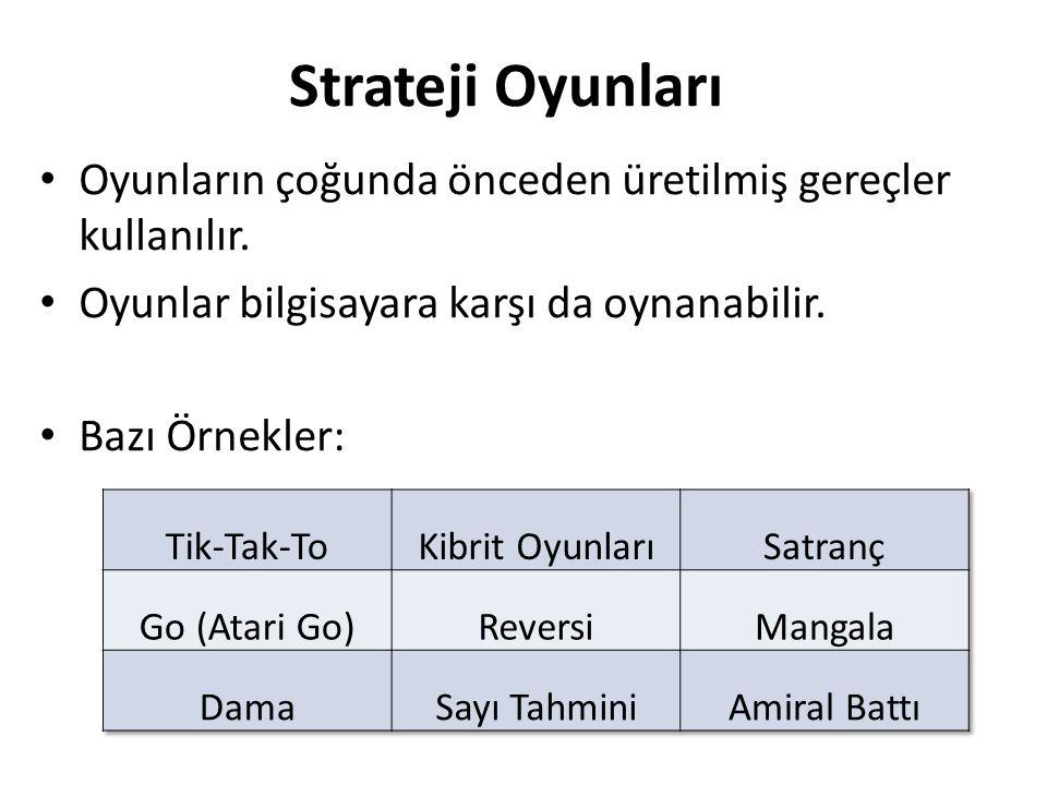 Strateji Oyunları Oyunların çoğunda önceden üretilmiş gereçler kullanılır. Oyunlar bilgisayara karşı da oynanabilir. Bazı Örnekler: