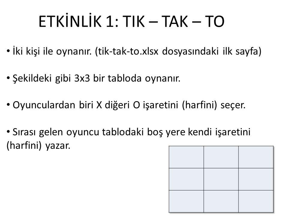 ETKİNLİK 1: TIK – TAK – TO İki kişi ile oynanır. (tik-tak-to.xlsx dosyasındaki ilk sayfa) Şekildeki gibi 3x3 bir tabloda oynanır. Oyunculardan biri X