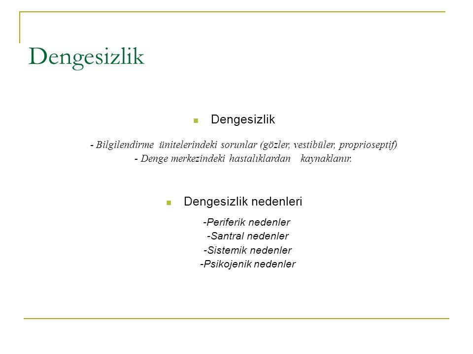 Dengesizlik - Bilgilendirme ünitelerindeki sorunlar (gözler, vestibüler, proprioseptif) - Denge merkezindeki hastalıklardan kaynaklanır.