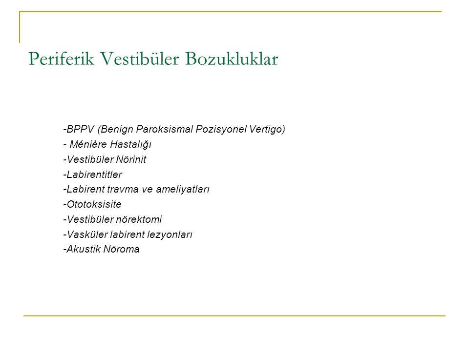 Periferik Vestibüler Bozukluklar -BPPV (Benign Paroksismal Pozisyonel Vertigo) - Ménière Hastalığı -Vestibüler Nörinit -Labirentitler -Labirent travma ve ameliyatları -Ototoksisite -Vestibüler nörektomi -Vasküler labirent lezyonları -Akustik Nöroma