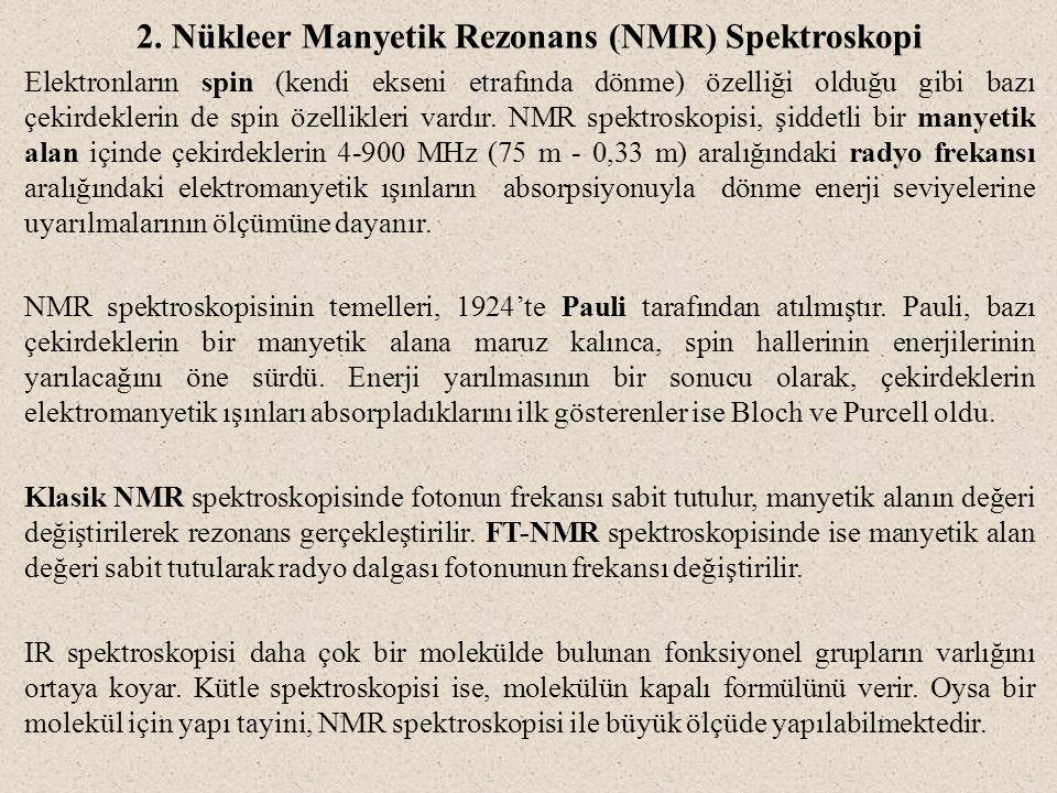 2. Nükleer Manyetik Rezonans (NMR) Spektroskopi Elektronların spin (kendi ekseni etrafında dönme) özelliği olduğu gibi bazı çekirdeklerin de spin özel