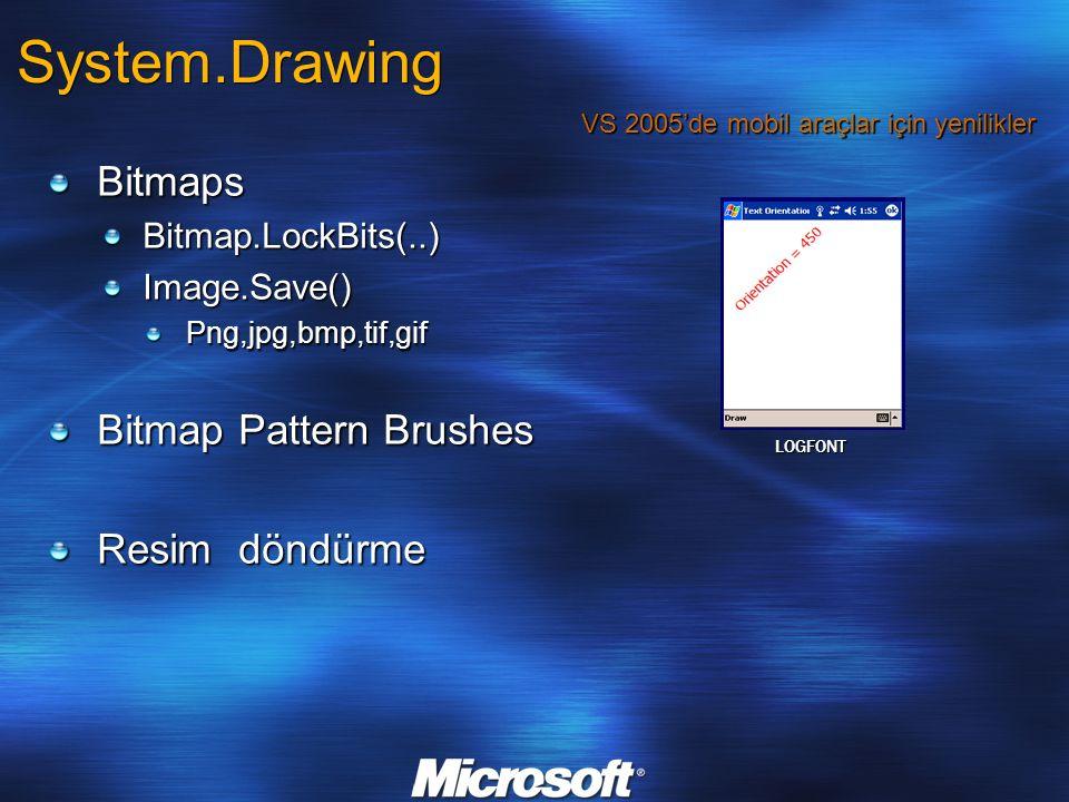 System.Drawing BitmapsBitmap.LockBits(..)Image.Save()Png,jpg,bmp,tif,gif Bitmap Pattern Brushes Resim döndürme VS 2005'de mobil araçlar için yenilikler LOGFONT