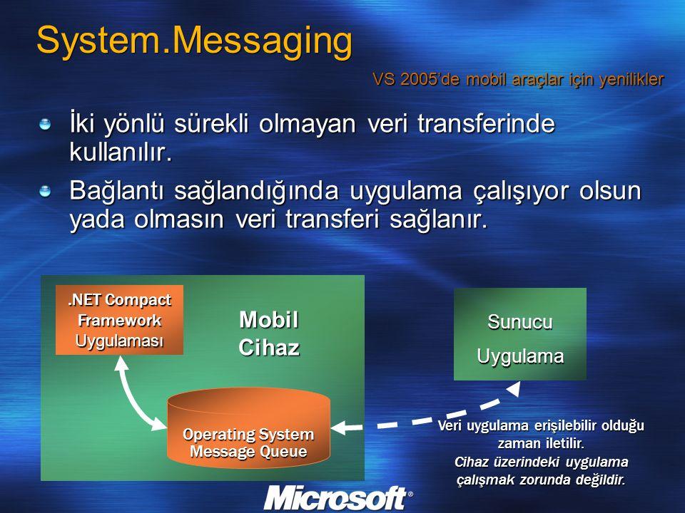 System.Messaging İki yönlü sürekli olmayan veri transferinde kullanılır. Bağlantı sağlandığında uygulama çalışıyor olsun yada olmasın veri transferi s