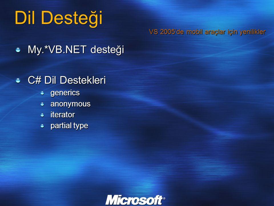 Dil Desteği My.*VB.NET desteği C# Dil Destekleri genericsanonymousiterator partial type VS 2005'de mobil araçlar için yenilikler