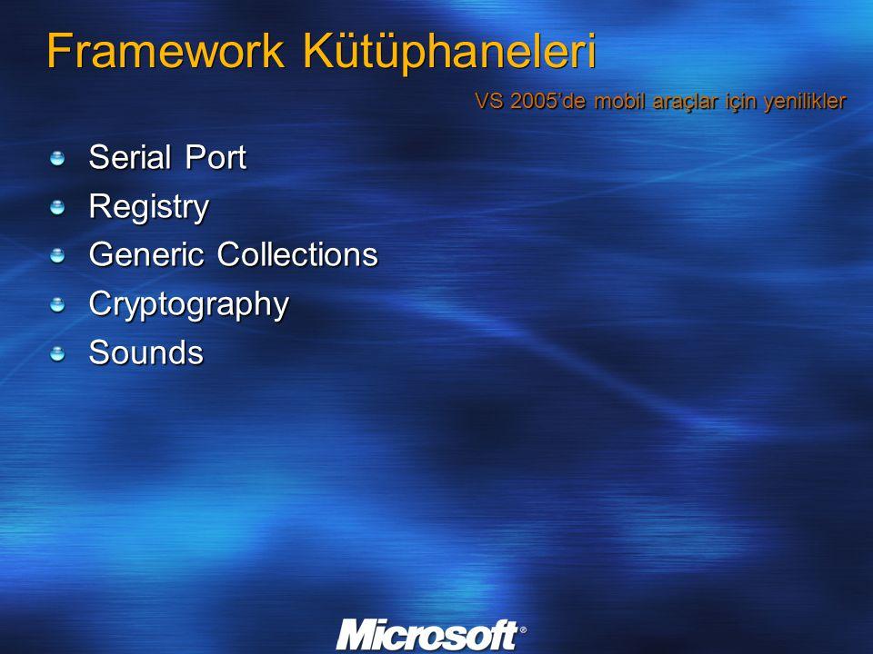Framework Kütüphaneleri Serial Port Registry Generic Collections CryptographySounds VS 2005'de mobil araçlar için yenilikler