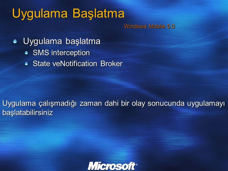 Uygulama Başlatma Uygulama başlatma SMS interception State veNotification Broker Uygulama çalışmadığı zaman dahi bir olay sonucunda uygulamayı başlata