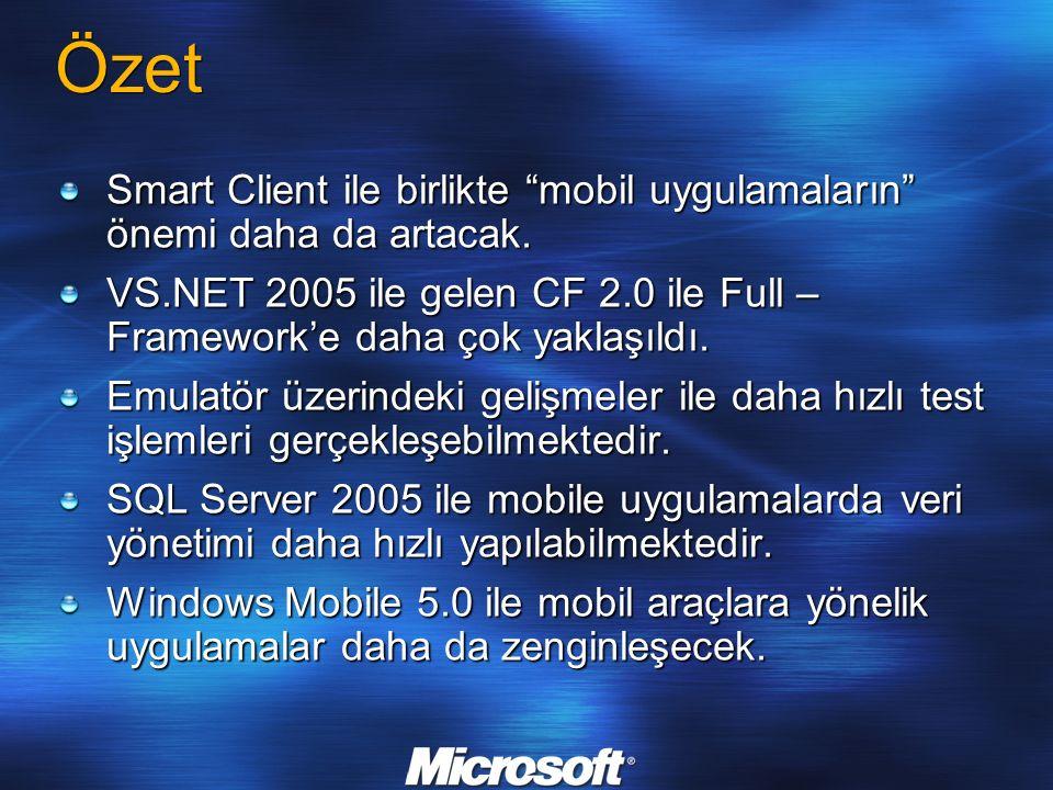 """Özet Smart Client ile birlikte """"mobil uygulamaların"""" önemi daha da artacak. VS.NET 2005 ile gelen CF 2.0 ile Full – Framework'e daha çok yaklaşıldı. E"""