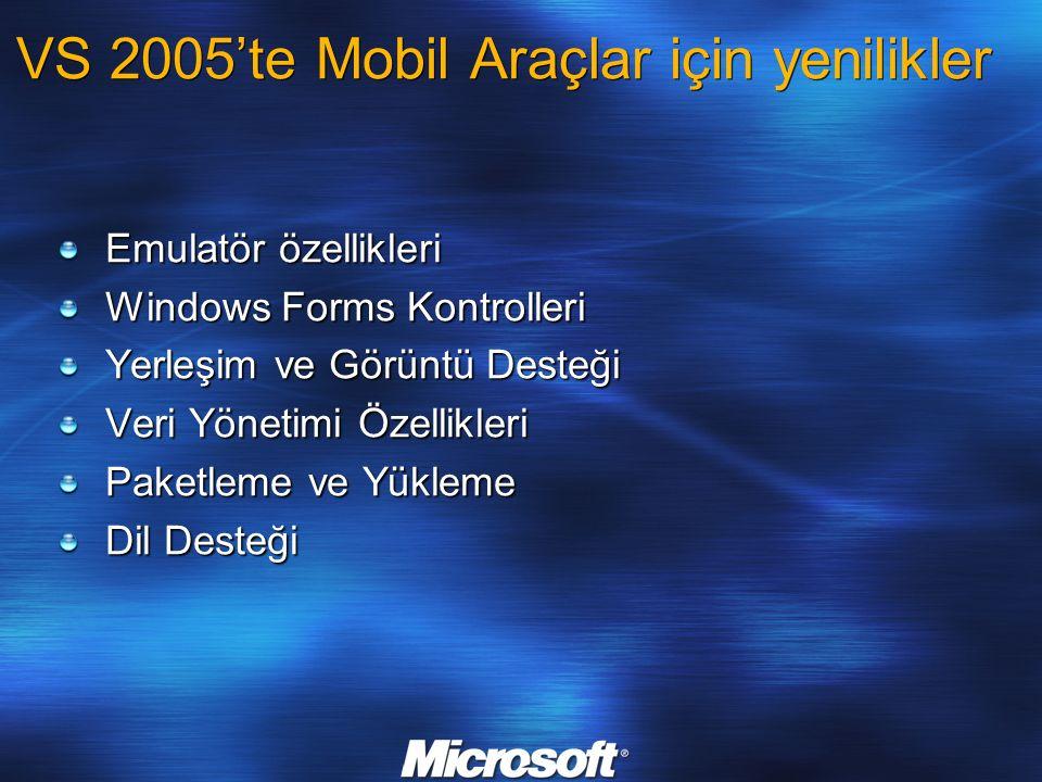 Emulatör özellikleri ActiveSync desteği Paylaştırılmış Klasör desteği 4 COM port desteği Birden çok emulatör durum kaydı Dik ve yatay görünüm desteği VS 2005'de mobil araçlar için yenilikler