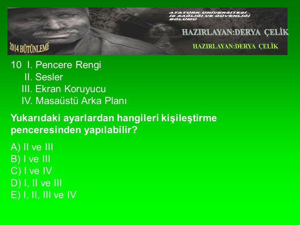 10 I. Pencere Rengi II. Sesler III. Ekran Koruyucu IV.