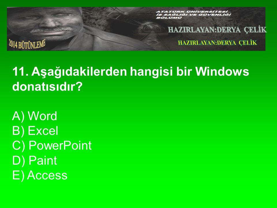 11.Aşağıdakilerden hangisi bir Windows donatısıdır.