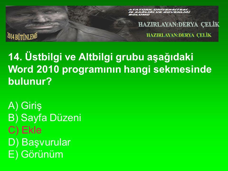 14.Üstbilgi ve Altbilgi grubu aşağıdaki Word 2010 programının hangi sekmesinde bulunur.