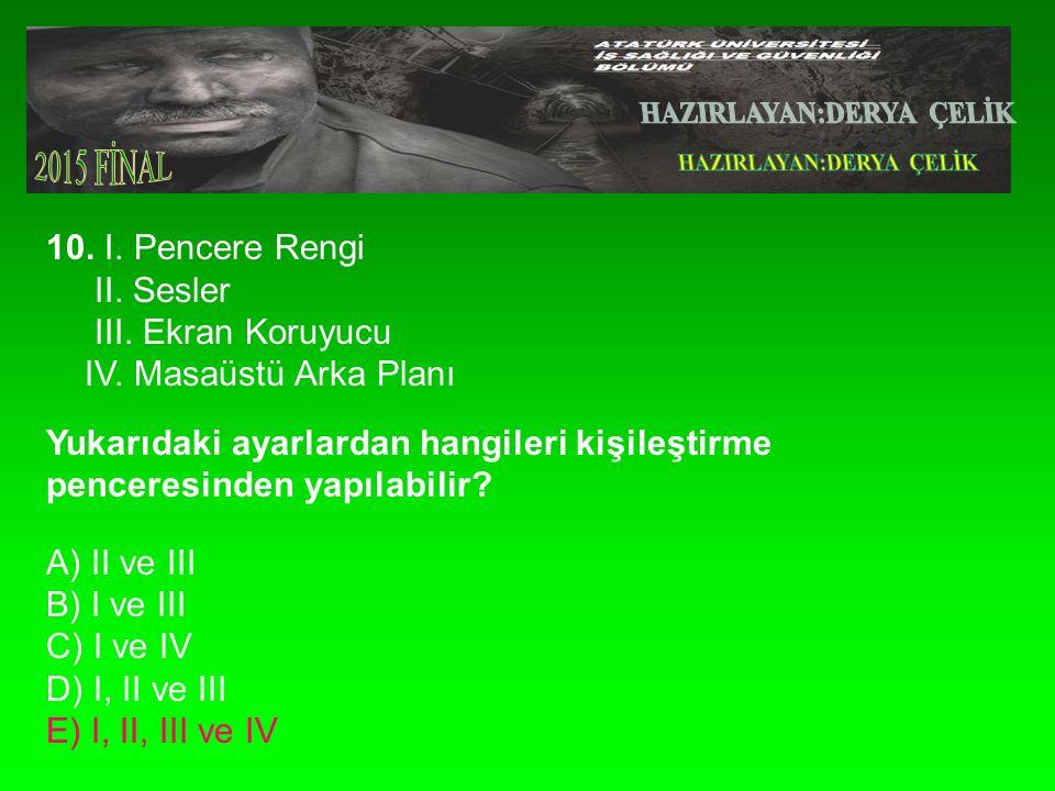 10.I. Pencere Rengi II. Sesler III. Ekran Koruyucu IV.