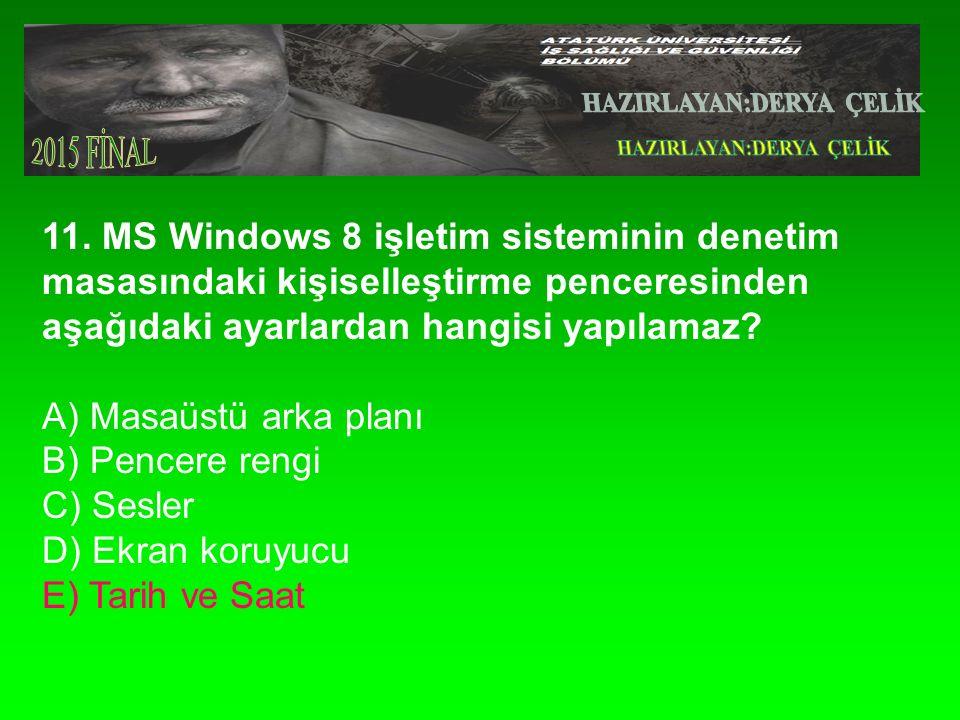 11. MS Windows 8 işletim sisteminin denetim masasındaki kişiselleştirme penceresinden aşağıdaki ayarlardan hangisi yapılamaz? A) Masaüstü arka planı B