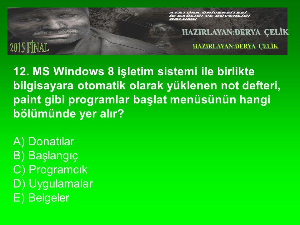 12. MS Windows 8 işletim sistemi ile birlikte bilgisayara otomatik olarak yüklenen not defteri, paint gibi programlar başlat menüsünün hangi bölümünde